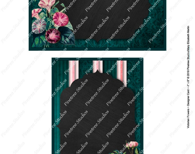 "Victorian Flowers Postcards (4"" x 6"" Landscape and Portrait) Digital Download ~ Printable / Journal Label / Card / E-Card / Ephemera"