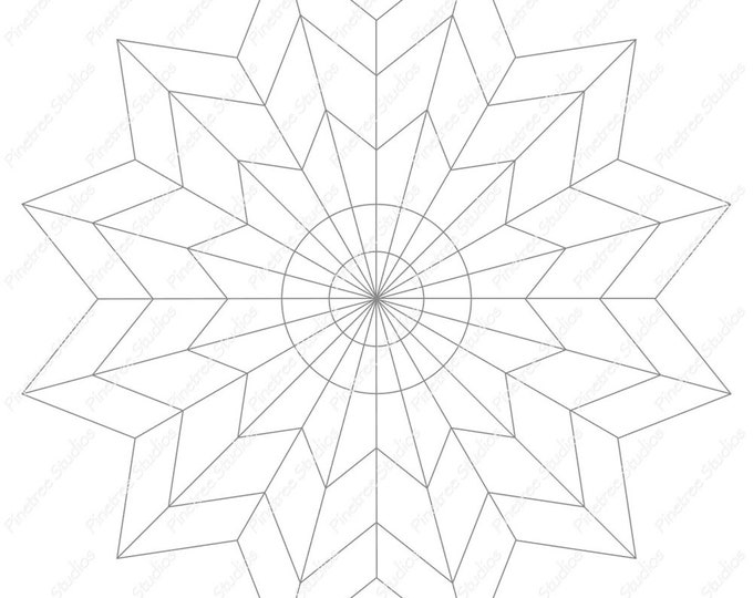 12 Point Star Mandala Template / Digital Download ~ Printable ~  iPad Pro / Procreate / Apple Pencil / Tangle Art Worksheet / Zendala