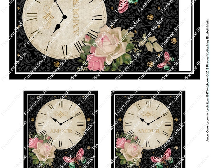 Amour Cover Labels for Leuchtturm1917 Journals (A6 and A5)  Digital Download ~ Printable / Butterflies / Clock / Bullet Journal / Planner