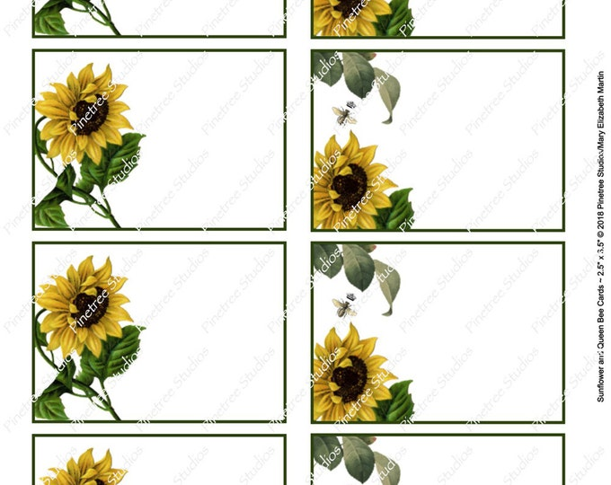 """Sunflower and Queen Bee Card (2.5""""x 3.5"""") ~ Digital Download ~ Printable / Label / Gift Tag / Place Card / Name Tag / Bookplates / ATC Cards"""