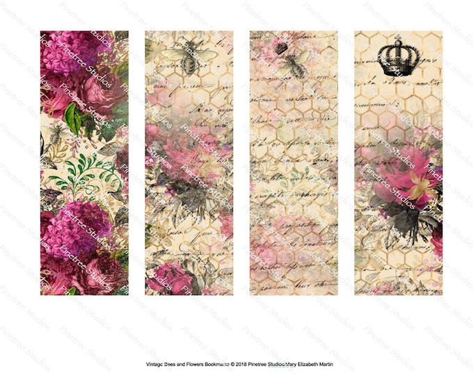 "Vintage Bees and Flowers Bookmarks ~ 4 Different Bookmarks (2"" x 6"") ~ Digital Download ~ Printable / Book Clubs / Journals / Queen Bee"