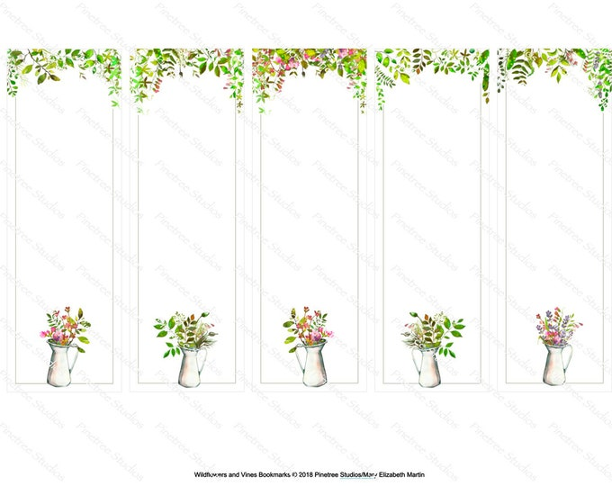 "Wildflowers and Vines  Bookmarks ~ 5 Different Bookmarks (2"" x 6"") ~ Digital Download ~ Printable / Watercolor / Book Clubs / Journals"