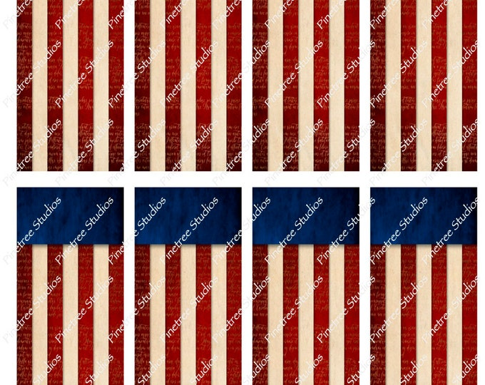 "Vintage Flag Bookmarks ~ (1.875"" x 5"") ~ Digital Download ~ Printable / Watercolor / Book Clubs / Journals / Bookmark / Editable / Patriotic"