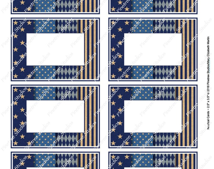 """Nautical Card (2.5""""x 3.5"""") ~ Digital Download ~ Printable / Label / Gift Tag / Place Card / Name Tag / Bookplates / ATC Cards"""