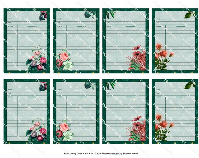 """Floral Library Cards (2.5""""x 3.5"""") ~ Digital Download ~ Printable / Journal Cards / Label / Gift Tag / Bookplate / Bookmark / ATC / Ephemera"""