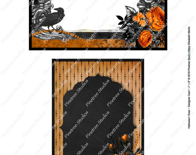 "Halloween Rose Postcards (4"" x 6"" Landscape and Portrait) Digital Download ~ Printable / Journal Label / Card / E-Card / Ephemera"