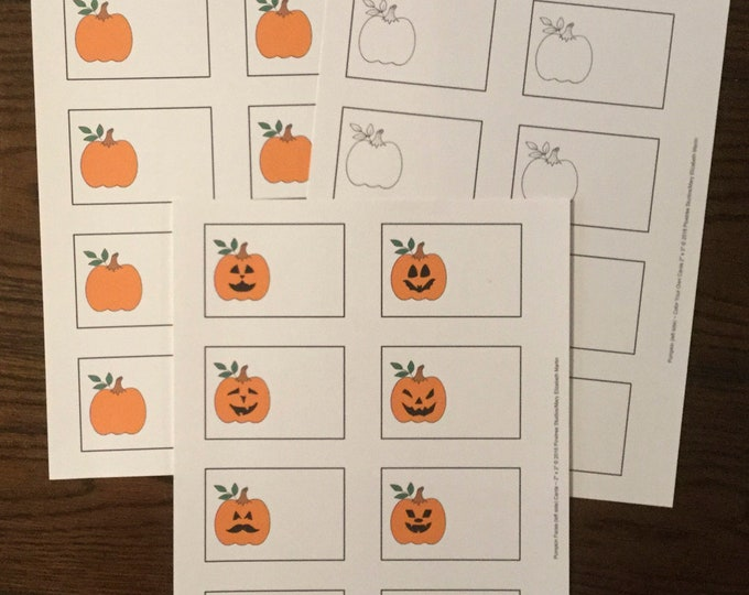 """Pumpkins & Pumpkin Faces (left side 2""""x3"""") ~ Digital Download ~ Printable / Label / Gift Tags / Place Cards / Name Tags / Color Your Own"""