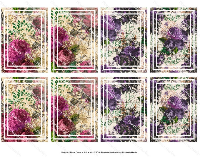 """Victorian Floral Cards (2.5""""x 3.5"""") ~ Digital Download ~ Printable / Journal Cards / Label / Gift Tags / Bookmarks / ATC Cards / Ephemera"""