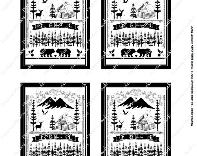 Mountain Home Ex Libris (Bookplate) Digital Download ~ Printable / Bookplate / Bookmark / Stickers / Labels