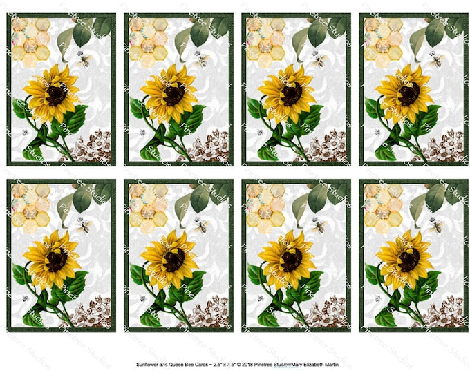 """Sunflower and Queen Bee Collage Cards (2.5""""x 3.5"""") ~ Digital Download ~ Printable / Label / Gift Tag / Bookplates / ATC Cards"""
