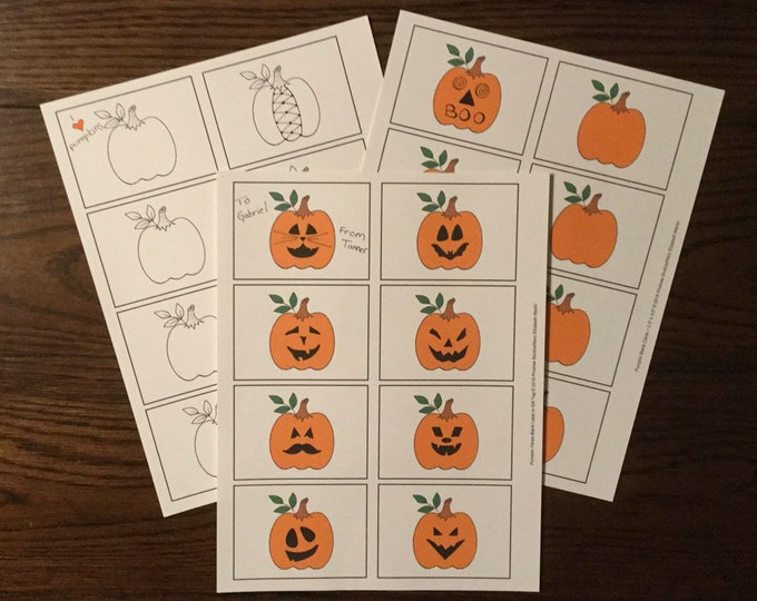 """Pumpkins & Pumpkin Faces (2.5""""x3.5"""") ~ Digital Download ~ Printable / Labels / Gift Tags / Place Cards / Name Tags / Color Your Own"""