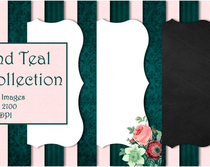 """Pink and Teal Collection ~ 5"""" x 7"""" Digital Paper / Invitation Background / Journal Pages / Scrapbook Paper / Roses / Stripes"""