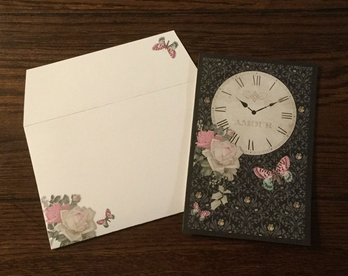 """Amour ~ Matching Card and Envelope Set (4"""" x 6"""" Folded) Digital Download ~ Printable / Blank Card / Roses / Timepiece / Butterflies / Art"""