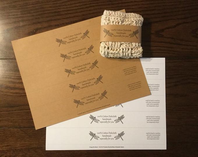 Dragonfly Band/Wrapper ~ Digital Download ~ Printable / 100% Cotton Label ~ Dishcloth / Hand Towel / Socks / Scarf ~ Crochet / Knit / Fabric