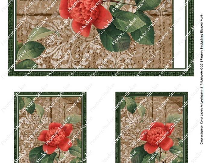 Chrysanthemum Cover Labels for Leuchtturm1917 Journals (A6 and A5)  Digital Download ~ Printable / Bullet Journal / Planner