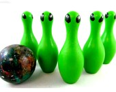 Alien Bowling Set, Wooden Toys Outer Space Travel Game, Bowling Pin Educational Toys Birthday Gifts, Gifts for Kids, made in Canada
