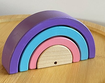 4 x 2 inch Wooden Rainbow Desktop Rainbow Stacker, Wood Toy, Montessori Toy, Waldorf Toy, Birthday Gifts Kids Gifts Made in Canada