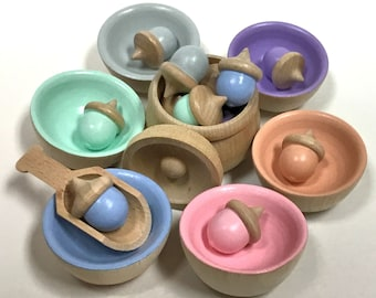 Pastel Rainbow Acorns and Bowls