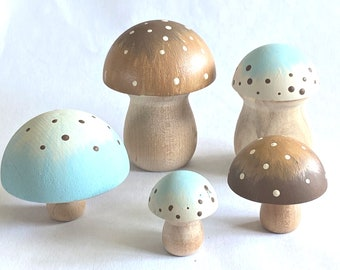 5 Piece Frosted Leaves Mushroom Set