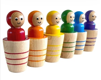 Montessori Toys Wooden Rainbow Peg Dolls in Pots Wooden Toys Birthday Gift Kids Gift Made in Canada