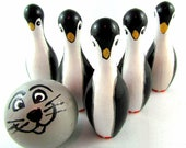 Wood Bowling Set, Toy Penguin, Wooden Bowling Game, Wooden Toy, Montessori Toy, Wooden Educational Toy made in Canada