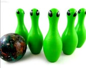 Alien Toy Bowling Game, Alien Doll Educational Toy, Wooden Peg Doll Bowling Set Math Game, Back to School Kids Gift made in Canada