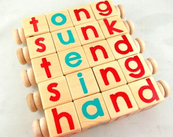 Montessori Toys 4 Letter Word Phonetic Reading Spinners, Wooden Toys, Solid Wood Educational Learning Toy made in Canada