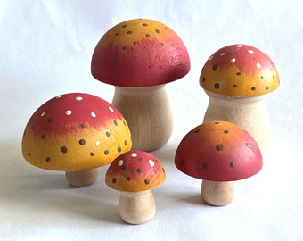 5 Piece Red and Yellow Mushroom Set