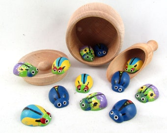 Pot of Beetles, Montessori Toys, Wooden Toys, Educational Toys, Birthday Gifts Kids Gift
