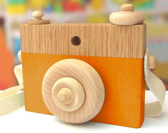 Burnt Orange Wooden Camera Toy