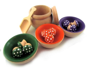 Green Orange Purple Colour Sorting Set - Preschool Wooden Educational Toy - Bowls and Mushrooms Game