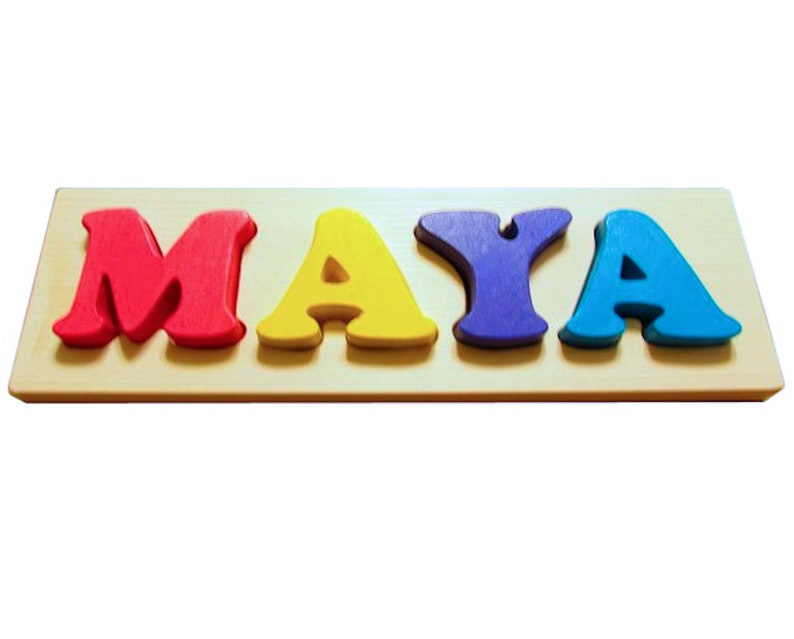 4 Letter Solid Wood Rainbow Custom Name Puzzle Toddler Gift made in Canada