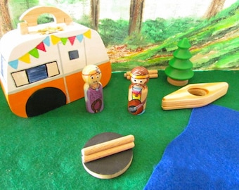 Vintage Trailer and Peg Doll Play Set - Vintage Trailer Peg Doll Set - Vintage Trailer Camping Toy