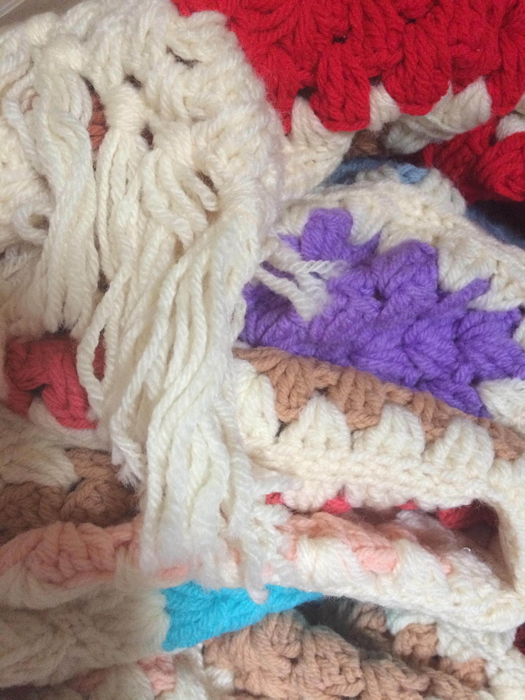 King Size Bedspread Crochet Bedspread Grandma Square Afghan Boho Bedding King Size Coverlet King Size Afghan Teal Bedspread Blue Bedspread