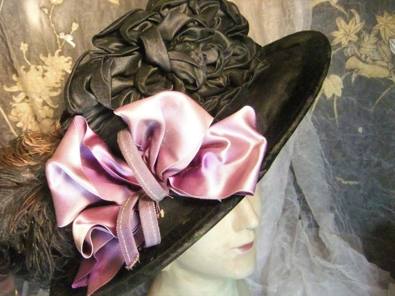 Antique Hat, Edwardian Hat, Belle Epoque Hat, Silk