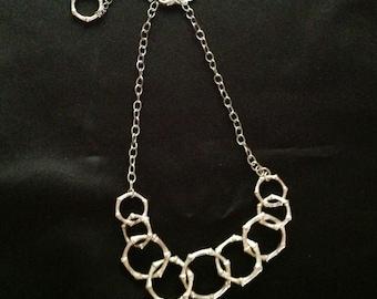 White House/Black Market Silver Ring Choker Necklace