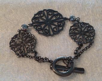 Vintage Filigree Gunmetal Crystal Bracelet