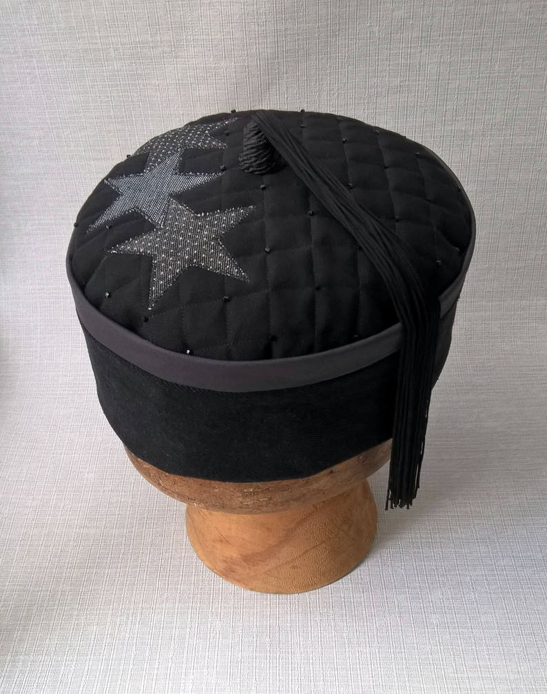 e8c2f4017f80d Tassel Smoking Cap Mens Magician Wizard Hat, Handmade Gothic Fez Victorian  Style Oriental Lounge Hat, Black Patchwork Stars Pillbox Hat