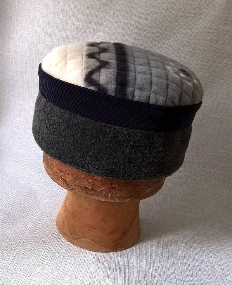 b16d8c6053884 Mens Grey Fleece Hat Hippie Style Smoking Cap, Winter Ethnic Pillbox Hat  Navy, Tribal Quilted Kofia Corduroy Fez