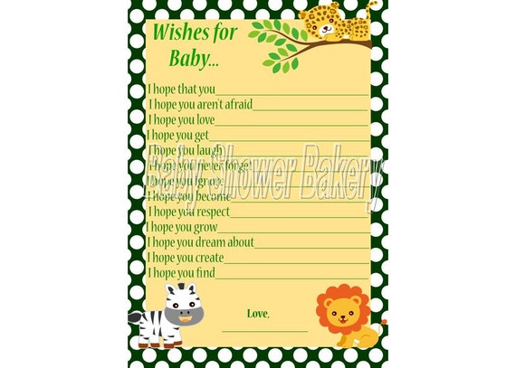 Jungle Baby Shower Game Wishes For Baby Jungle Theme Baby Etsy
