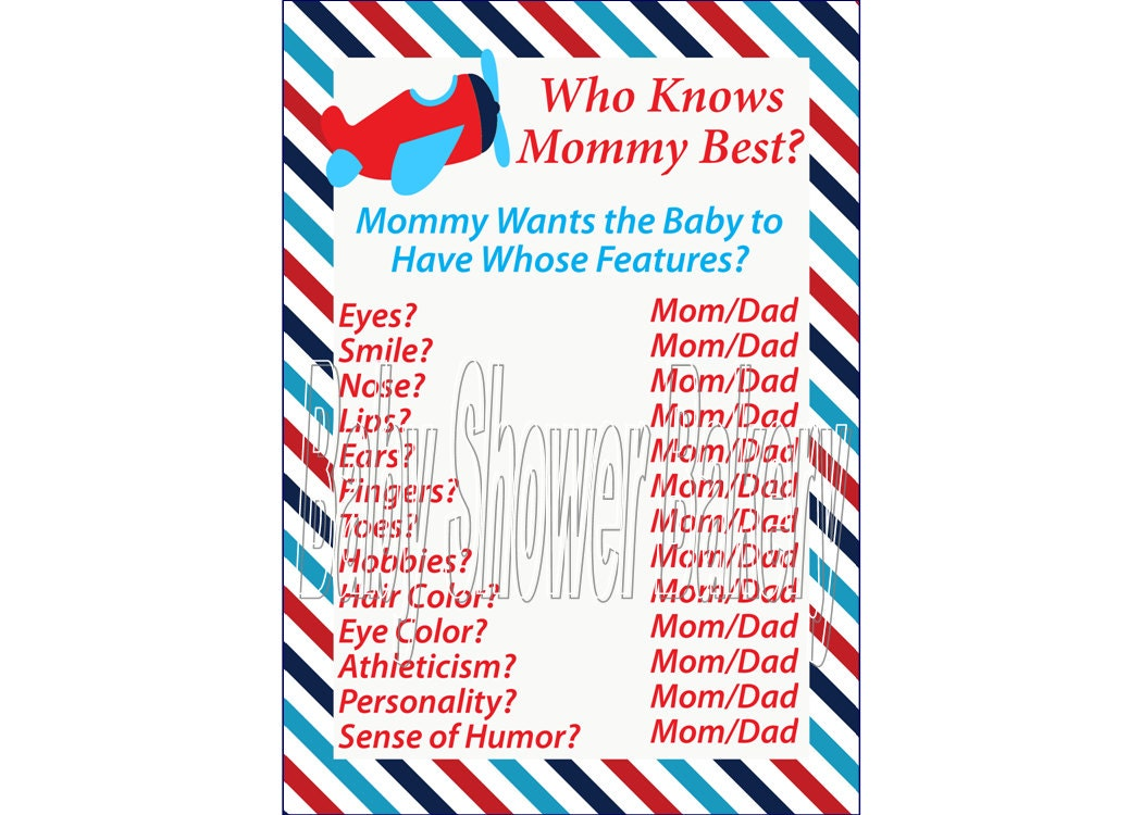 Airplane Baby Shower Game, Airplane Theme Baby Shower for Boy, Who Knows  Mommy Best, Boy Plane Theme Baby Shower Game, Red and Blue Airplane