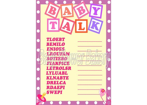 Baby Shower Game Baby Word Scramble Printable Baby Shower Etsy