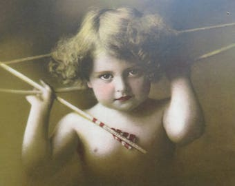 Original Antique Prints- Cupid Awake- Sepia Toned with Color Details-8 x 6 inches-Springfield, MA-Published by Taber Prang Art Co.- No. 2829