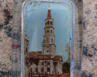Beautiful, Antique, Victorian Era, Glass Paperweight-St. Michael's Church, Charleston, South Carolina-Pyrophoto Co, New York-Painted Details