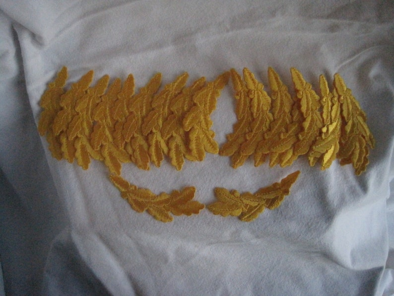 """gold Oak leaf clusters Iron on Embroidered Patch set of 2 /""""scrambled eggs/"""" NEW"""