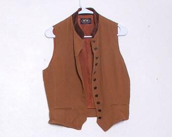 Brown Velvet Vest Vintage Velour Top Stretchy Vest Sleeveless Shirt V Neck Vest 80s 90s Clothing Boho Top For Layering Fuzzy Textured Top
