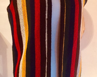 Vintage 1960s Acrylic Fringed Rainbow Striped Hippie Vest One Size d170ebfd21f1