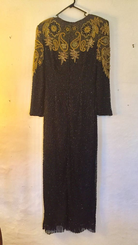Vintage Beaded Art Deco Silk Formal Gown Size M 1… - image 2