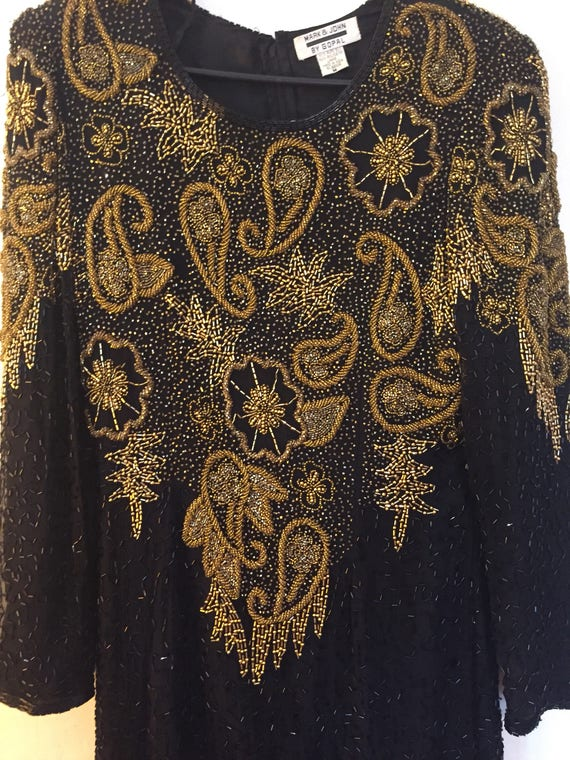 Vintage Beaded Art Deco Silk Formal Gown Size M 1… - image 3