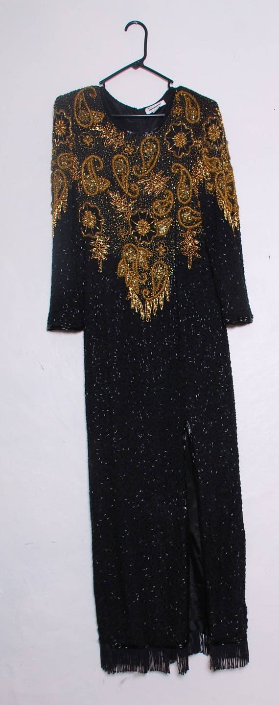 Vintage Beaded Art Deco Silk Formal Gown Size M 1… - image 1